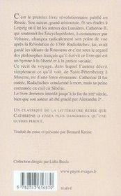 Voyage de pétersbourg a moscou - 4ème de couverture - Format classique