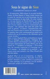 Sous Le Signe De Sion ; L'Antisemitisme Nouveau Est Arrive - 4ème de couverture - Format classique