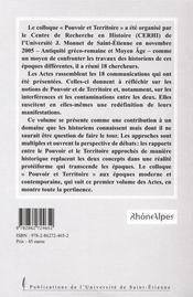 Pouvoir Et Territoire. Aux Epoques Ancienne Et Medievale - 4ème de couverture - Format classique