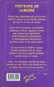 Porteurs De Lumiere - La Voie Du C?Ur - 4ème de couverture - Format classique