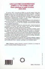Les Gauches Europeennes Apres La Victoire Nazie : Entre Planisme Et Unite D'Action 1933-1934 - 4ème de couverture - Format classique