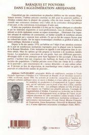 Baraques Et Pouvoirs Dans L'Agglomeration Abidjanaise - 4ème de couverture - Format classique