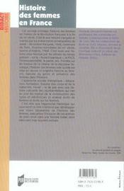 Histoire des femmes en france xxe xxe siecles - 4ème de couverture - Format classique