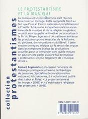 Le protestantisme et la musique - 4ème de couverture - Format classique