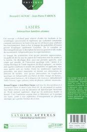 Lasers ; interaction lumière-atomes - 4ème de couverture - Format classique