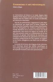 Chamanismes et arts préhistoriques - 4ème de couverture - Format classique
