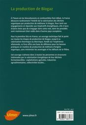 La Production De Biogaz - 4ème de couverture - Format classique