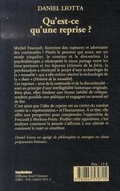 Qu'Est-Ce Qu'Une Reprise ? Deux Etudes Sur Foucault - 4ème de couverture - Format classique