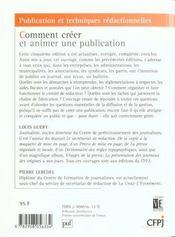 Comment Creer Et Animer Une Publication - 4ème de couverture - Format classique