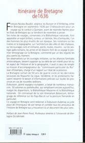 Itineraire De Bretagne En 1636 - 4ème de couverture - Format classique