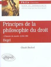 Principes De La Philosophie Du Droit L'Histoire Du Monde Chapitres 341 360 Hegel Texte & Commentaire - Intérieur - Format classique