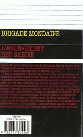 Brigade mondaine t.212 ; l'enlevement des sabine - 4ème de couverture - Format classique