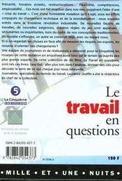 Le travail en questions - 4ème de couverture - Format classique
