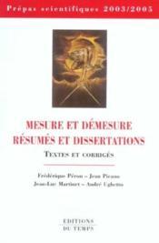 Mesure Et Demesure ; Dissertation Et Resume - Couverture - Format classique