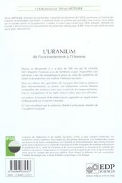 L'uranium de l'environnement a l'homme - 4ème de couverture - Format classique