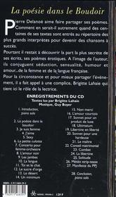 La Poesie Dans Le Boudoir + Cd - 4ème de couverture - Format classique