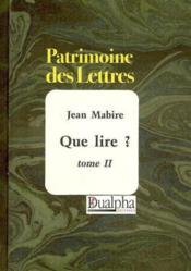 Que lire ? t.2 - Couverture - Format classique
