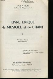 Livre Unique De Musique Et De Chant Ii - Deuxieme Annee - Couverture - Format classique