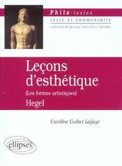 Lecons D'Esthetique (Les Formes Artistiques) Hegel Texte Et Commentaire - Intérieur - Format classique