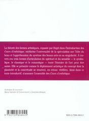 Lecons D'Esthetique (Les Formes Artistiques) Hegel Texte Et Commentaire - 4ème de couverture - Format classique