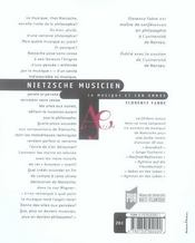 Nietzsche Musicien. La Musique Et Son Ombre - 4ème de couverture - Format classique