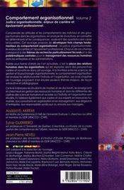 Comportement organisationnel t.2 ; justice organisationnelle, enjeux de carrière et épuisement professionnel - 4ème de couverture - Format classique