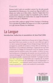 La Langue - 4ème de couverture - Format classique