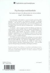 Psychanalyse multifamiliale - 4ème de couverture - Format classique