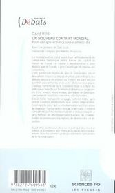 Un nouveau contrat mondial ; pour une gouvernance social-démocrate - 4ème de couverture - Format classique