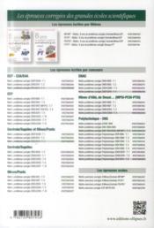 8 Ans De Problemes Corriges De Mathematiques Centrale/Supelec Mines/Pont Ccp Filiere Pc 2014 - 4ème de couverture - Format classique