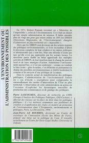 L'Environnement Ou L'Administration Des Possibles - 4ème de couverture - Format classique