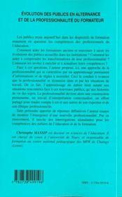 Evolution Des Publics En Alternance Et De La Professionnalite Du Formateur - 4ème de couverture - Format classique