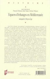Espaces D Echanges En Mediterranee. Antiquite Et Moyen Age - 4ème de couverture - Format classique