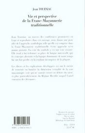 Vie Et Perspective De La Franc-Maconnerie Traditionnelle - 4ème de couverture - Format classique