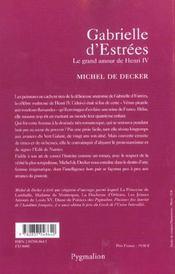 Gabrielle D'Estrees - 4ème de couverture - Format classique