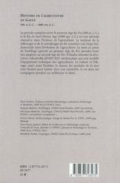 Histoire de l'agriculture gauloise, gallo-romaine et médiévale - 4ème de couverture - Format classique