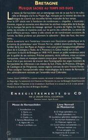 Bretagne + Cd Audio - 4ème de couverture - Format classique