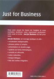 Just for business ; communiquer efficacement en anglais au bureau - 4ème de couverture - Format classique