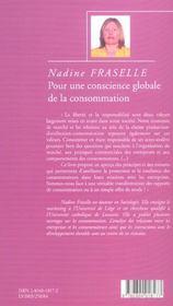 Pour une conscience globale de la consommation - 4ème de couverture - Format classique