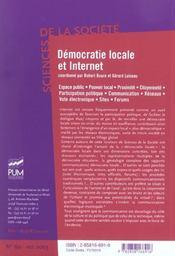 Democratie Locale Et Internet - 4ème de couverture - Format classique