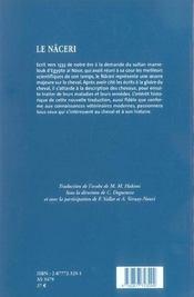 Le Naceri -Hippologie Et Medecine Cheval En Terre D'Islam Au Xive Siecle - 4ème de couverture - Format classique