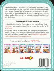Petits Pas ; Les Animaux 18-24 Mois - 4ème de couverture - Format classique