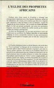 Eglise Des Prophetes Afric-Ains. Lettres De Bakatuasa - 4ème de couverture - Format classique