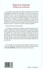 Eloge De La Fraternite ; Pratique Des Solidarites - 4ème de couverture - Format classique