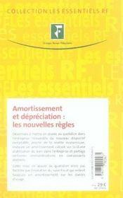 Amortissement et dépréciation : les nouvelles règles - 4ème de couverture - Format classique