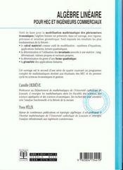 Algèbre linéaire - 4ème de couverture - Format classique
