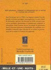 Comment le personnage fut le maître et l'auteur son apprenti - 4ème de couverture - Format classique
