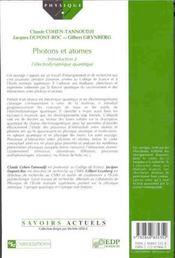 Photons et atomes ; introduction à l'électrodynamique quantique - 4ème de couverture - Format classique