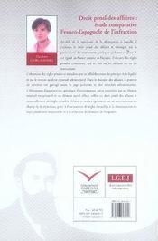 Droit pénal des affaires ; étude comparative franco-espagnole de l'infraction - 4ème de couverture - Format classique