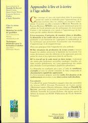 Apprendre à lire et a écrire à l'âge adulte ; guide méthodologique et pratique - 4ème de couverture - Format classique